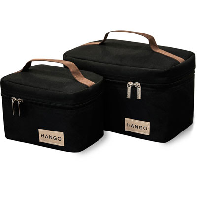 Attican-Hango-Insulated-Lunch-Box-Cooler-Bag-(Set-of-2-Sizes),-Black
