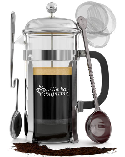 Kitchen-Supreme-French-Press-Coffee-&-Tea-Maker-Complete-Bundle