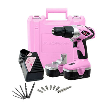 8-Pink-Power-PP182-18V-Cordless-Electric-Drill-Driver-Set-for-Women